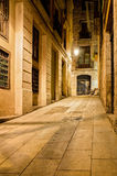 Nightly lane in gothic quarter, Barcelona, Spain Stock Photography