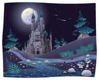 Nightly panorama with castle. Cartoon and vector illustration Stock Photography