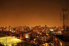 Nightly panorama of Santiago de Chile royalty free stock photography