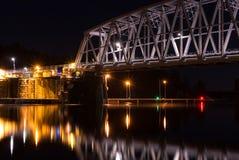 Nightly railroad bridge and calm water Stock Image