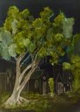 Nightly sikt av ett ensamt träd framme av en kyrka Royaltyfria Bilder
