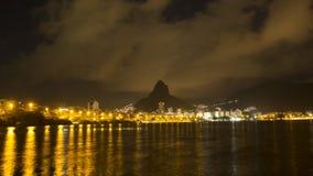 Nightly sikt av Rio de Janeiro från Lagoa lager videofilmer