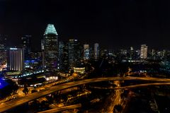 Nightly Singapore Royaltyfri Bild