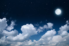 Nightly sky with full moon Stock Photography