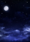 Nightly sky with stars and moon Stock Photography