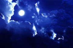 Nightly sky with stars and moon Stock Image