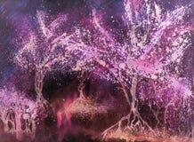 Nightly varma glödande träd för dröm- mitt Arkivbild