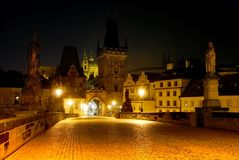 Nightly view from Charles Bridge - Prague Stock Photo