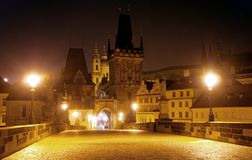 Nightly view from Charles Bridge - Prague Royalty Free Stock Photography