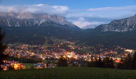 Nightly view of Cortina d Ampezzo Royalty Free Stock Photo