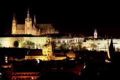 Nightly view of Prague castl Royalty Free Stock Photo