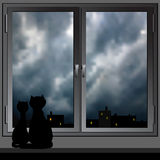 Nightly window and cats. Vector. Royalty Free Stock Photos
