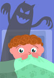Nightmare in bedroom vector. Scared boy in his bed with evil shadow, cartoon vector illustration Royalty Free Stock Photography