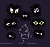 Nightmare & big eyes. Vector hand drawn cartoon characters Royalty Free Stock Image