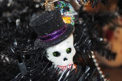 Nightmare before christmas. A creepy black artificial Christmas tree Stock Image