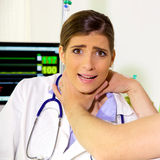 The nightmare of every doctor being strangled by patient Stock Photo