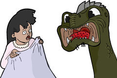 Nightmare Monster. Little girl experiences a nightmare facing a scary monster Stock Image