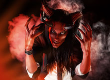 Nightmare. Portrait of a devil with horns. Fantasy. Art project Royalty Free Stock Photos