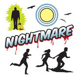 Nightmare word headline with people running and moon Royalty Free Stock Images