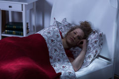 Nightmares in the night. Young woman has nightmares in the night Stock Photography