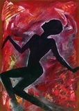 Nightmares in Red. Abstract colorful painting of woman's silhouette on red artistic background Royalty Free Stock Images