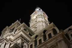 City hall of philadelphia awesome night view royalty free stock image