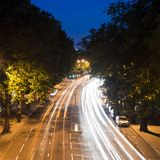 Nightride in London. Traffic in London, light streaks at dusk Stock Photography