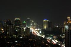 The nights of Jakarta. Jakarta elevated highway (Gatot Subroto) around Slipi area at night Stock Photos
