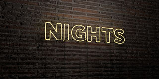 NIGHTS -Realistic Neon Sign on Brick Wall background - 3D rendered royalty free stock image. Can be used for online banner ads and direct mailers royalty free illustration