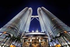 Nightscape των δίδυμων πύργων Petronas στοκ εικόνες