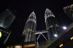 Nightscape των δίδυμων πύργων Petronas Στοκ Εικόνα