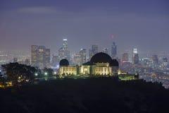 Nightscape Лос-Анджелеса городское с обсерваторией грифона Стоковая Фотография
