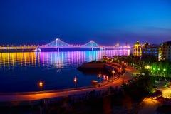 Nightscape моста взаимн моря Стоковые Изображения