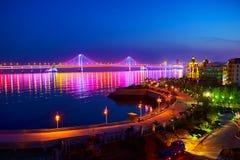 Nightscape моста переправы Даляни Стоковые Фотографии RF