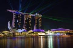 Nightscape песка Сингапура залива Марины Сингапура Стоковые Изображения RF