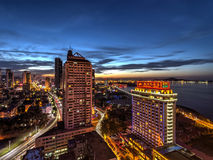 Nightscape aerial view of Yantai city at Shandong China during sunset Royalty Free Stock Photography