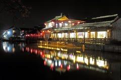 Nightscape antiguo de la arquitectura de China Imagen de archivo libre de regalías