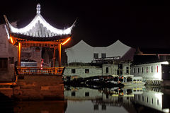 Nightscape antique d'architecture de la Chine Photographie stock libre de droits