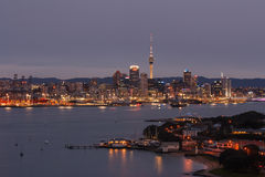 Nightscape of Auckland waterfront Stock Photography