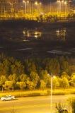 Nightscape av en kinesisk stad Royaltyfria Foton