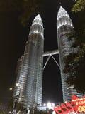 Nightscape av Petronas tvillingbröder Arkivbilder