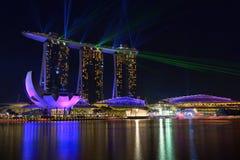 Nightscape av Singapore Marina Bay Sand Singapore Arkivfoton