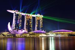 Nightscape av Singapore Marina Bay Sand Singapore Arkivfoto