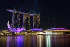 Nightscape av Singapore Marina Bay Sand Singapore Royaltyfri Fotografi