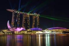 Nightscape av Singapore Marina Bay Sand Singapore Arkivbild