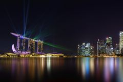 Nightscape av Singapore Marina Bay Sand Singapore Royaltyfri Bild