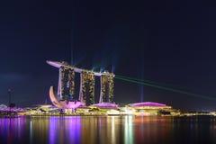 Nightscape av Singapore Marina Bay Sand Singapore Royaltyfria Foton