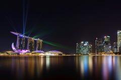 Nightscape av Singapore Marina Bay Sand Singapore Fotografering för Bildbyråer