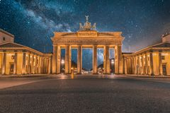 Nightscape of brandenburger Tor with Milky way in Background. royalty free stock photos