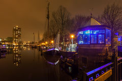 Nightscape of a bridge in the city Groningen Stock Photography